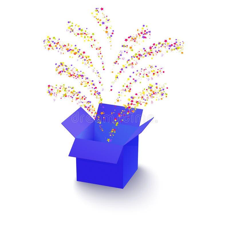 Boîte de surprise avec des confettis illustration stock