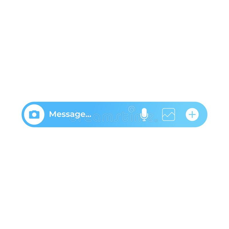 Boîte de texte du message bleue Interface utilisateurs moderne de messager illustration de vecteur