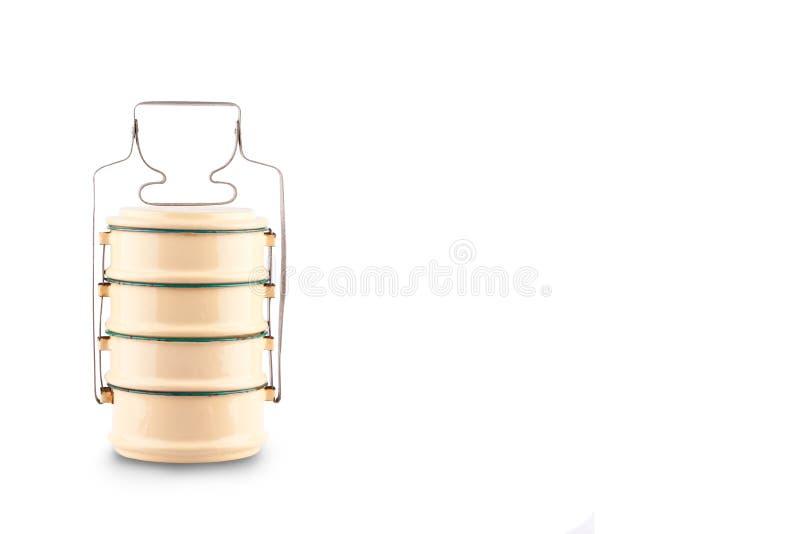 Boîte de Tiffin ou conteneur de nourriture pour l'emballage alimentaire sur l'objet blanc de vaisselle de cuisine de la Thaïlande photographie stock libre de droits