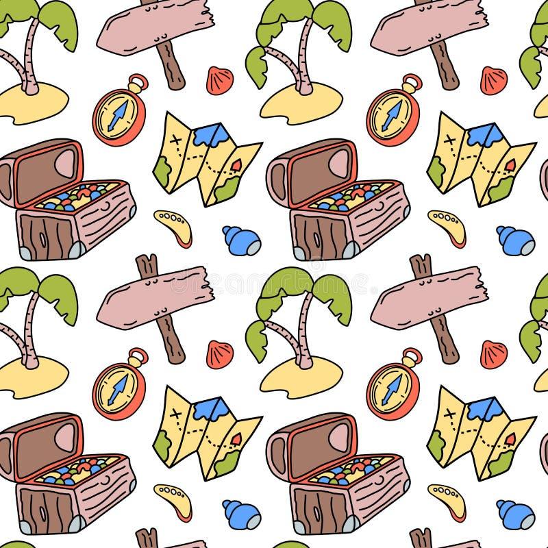 Boîte de trésor et carte, modèle d'aventure de pirate Modèle sans couture de vecteur sur le fond blanc Voyage marin de vacances illustration libre de droits
