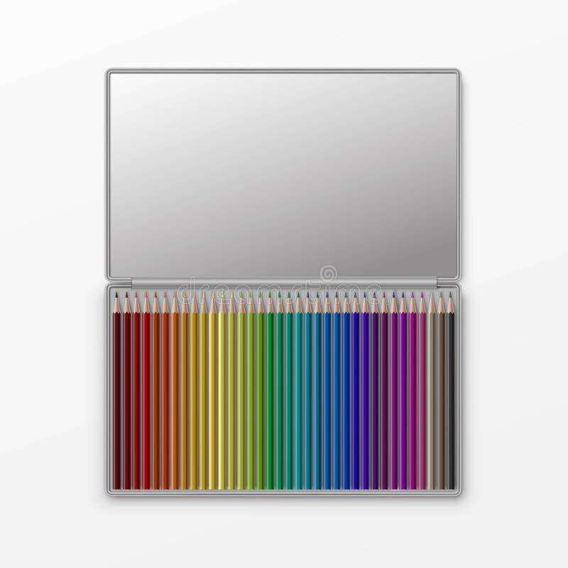 Boîte de vecteur de crayons colorés d'isolement sur le fond illustration de vecteur