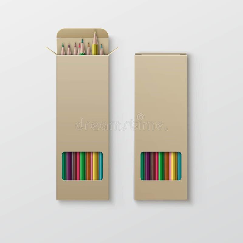 Boîte de vecteur de crayons colorés d'isolement sur le fond illustration libre de droits