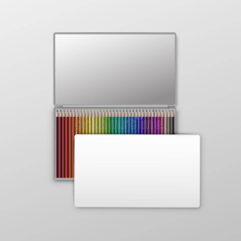Boîte de vecteur de crayons colorés d'isolement sur le fond illustration stock