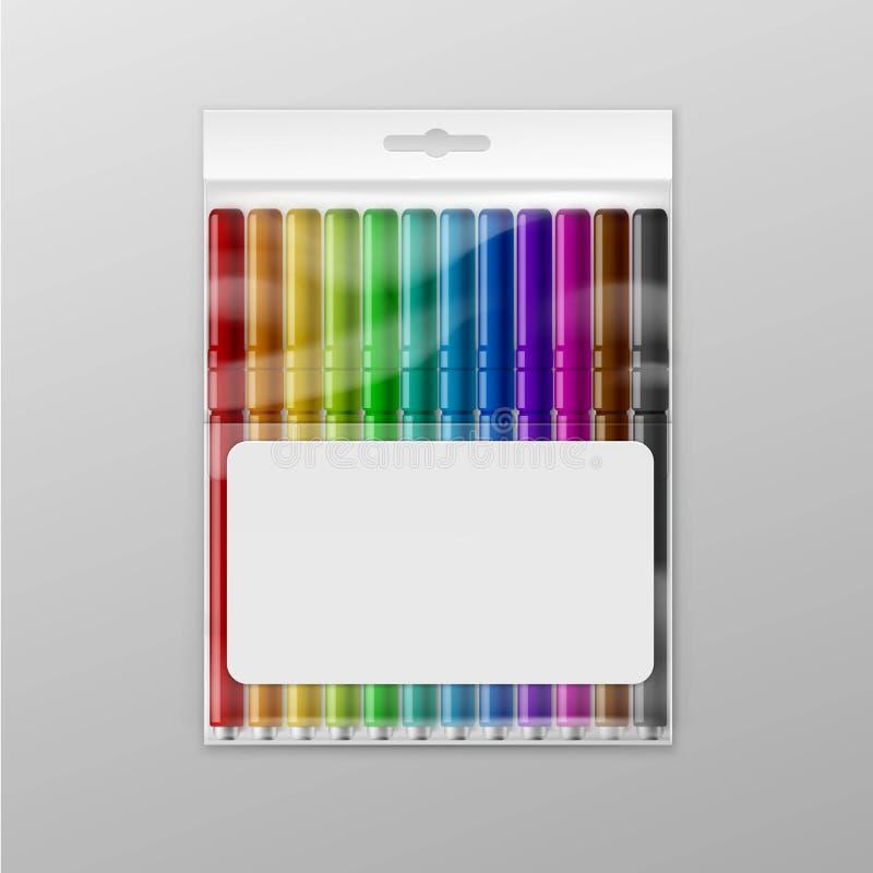 Boîte de vecteur de marqueurs feutres colorés de stylos d'isolement illustration libre de droits