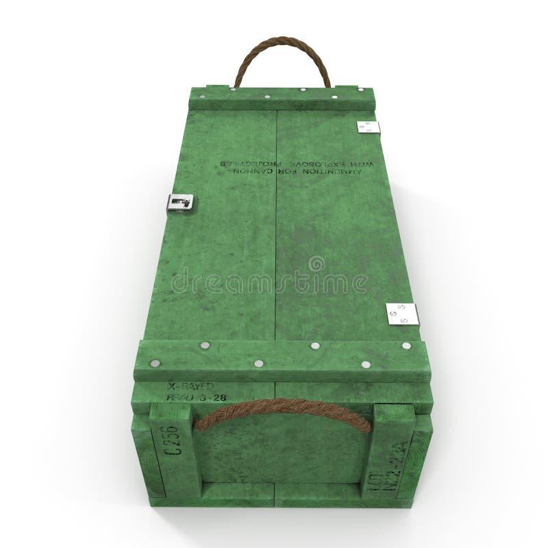 Boîte de vert de vue de face de munitions d'isolement sur le blanc illustration 3D illustration de vecteur