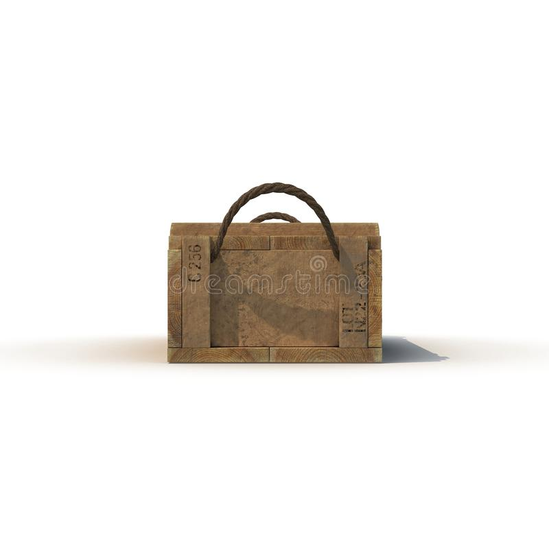 Boîte de vue de face de munitions d'isolement sur le blanc illustration 3D illustration de vecteur