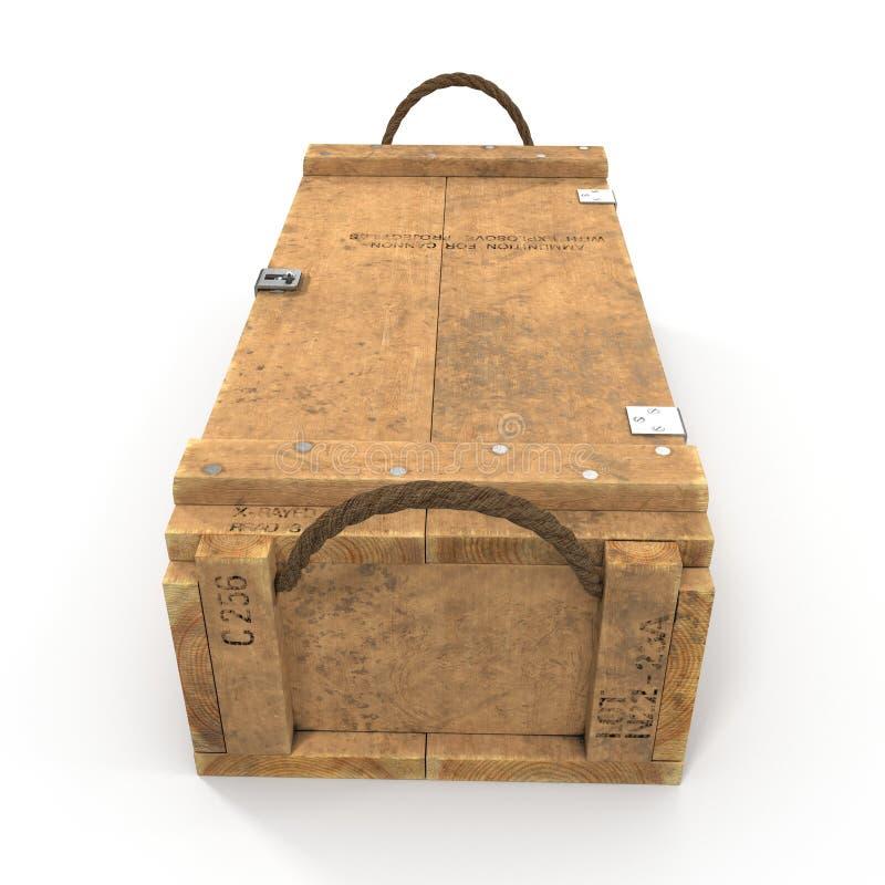 Boîte de vue de face de munitions d'isolement sur le blanc illustration 3D illustration stock