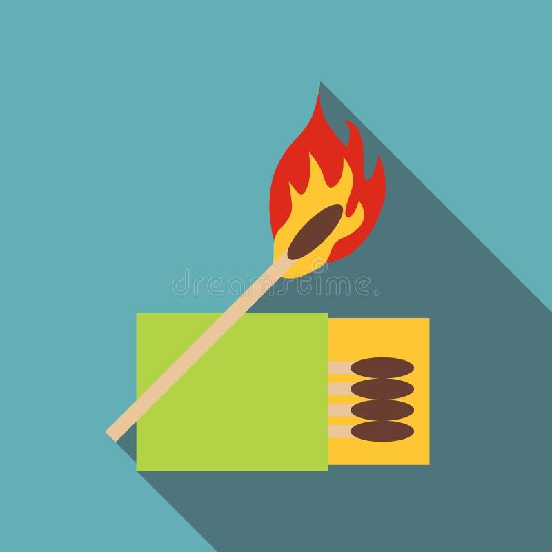 Boîte des matchs et de l'icône brûlante de match, style plat illustration stock