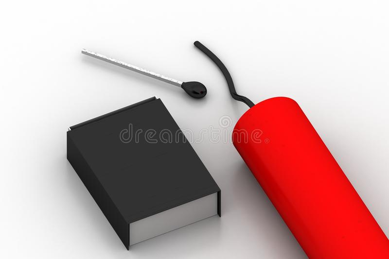 boîte du match 3d avec de la dynamite illustration libre de droits