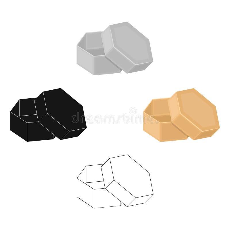 Boîte, emballage, papier, et toute autre icône de Web dans la bande dessinée, style noir Shell, cadre, cas, ic?nes dans la collec illustration de vecteur