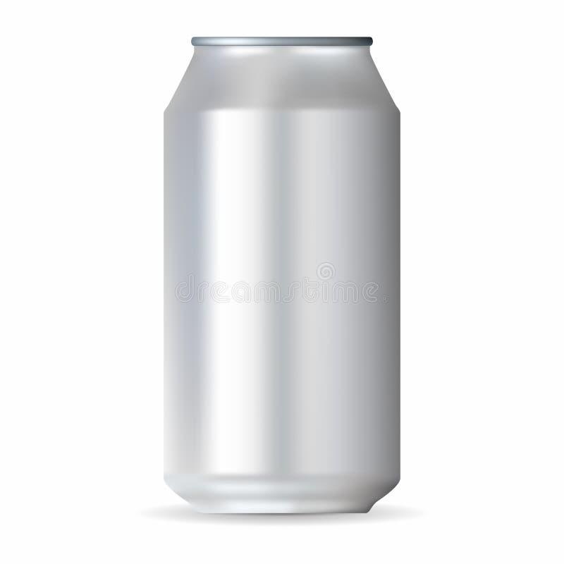 Boîte en aluminium blanche réaliste illustration stock
