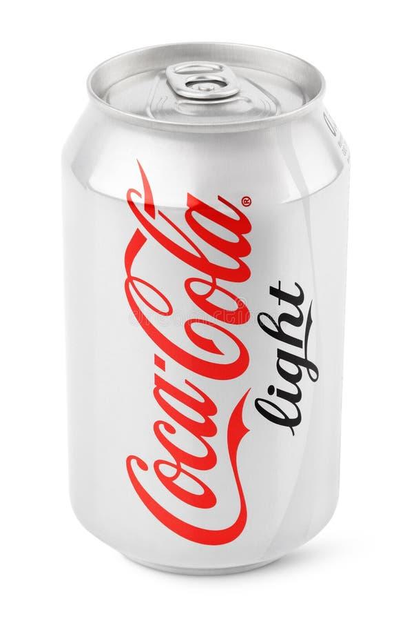 Boîte en aluminium de lumière de Coca-Cola photos stock