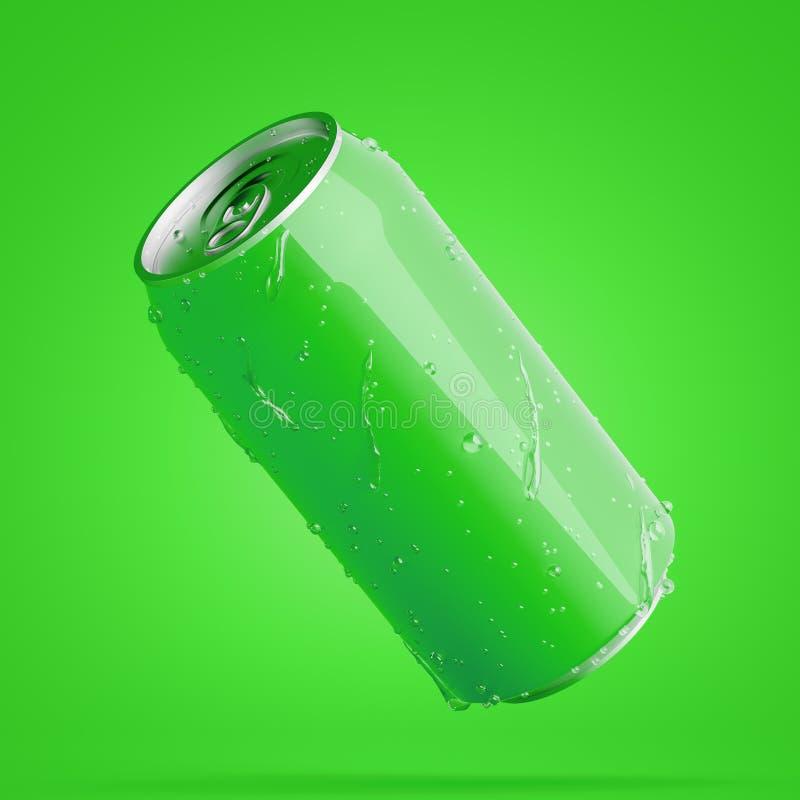 Boîte en aluminium diagonale verte avec des baisses de l'eau illustration de vecteur