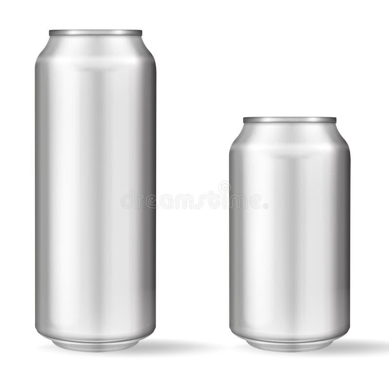 Boîte en aluminium réaliste sur le fond blanc Maquette, boîte vide avec l'espace de copie illustration de vecteur