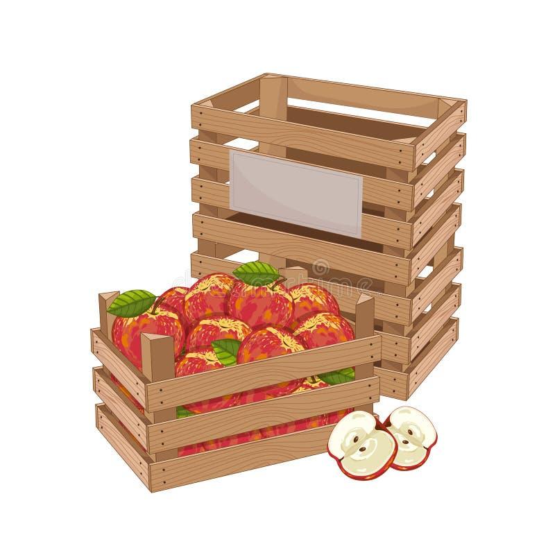 Boîte en bois complètement de vecteur d'isolement par pomme illustration de vecteur