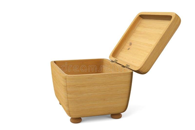 Boîte en bois de haute qualité sur un fond blanc illustration 3D illustration de vecteur