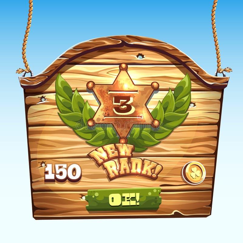 Boîte en bois pour un nouveau niveau d'interface utilisateurs dans un jeu d'ordinateur illustration libre de droits