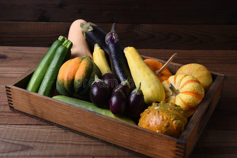 Boîte en bois remplie de légumes photos stock