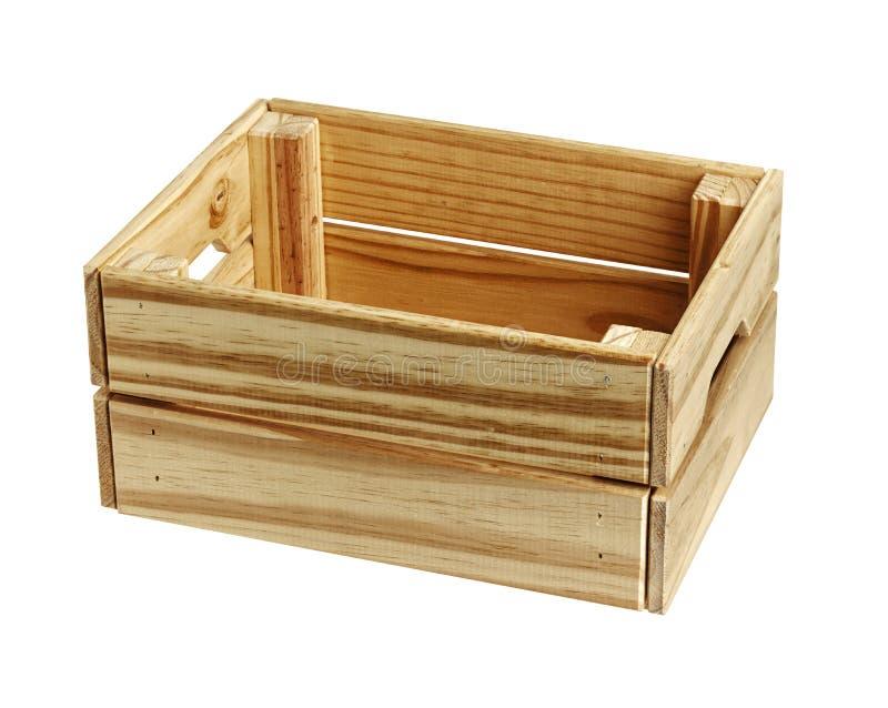 Boîte en bois vide d'isolement sur le blanc image libre de droits