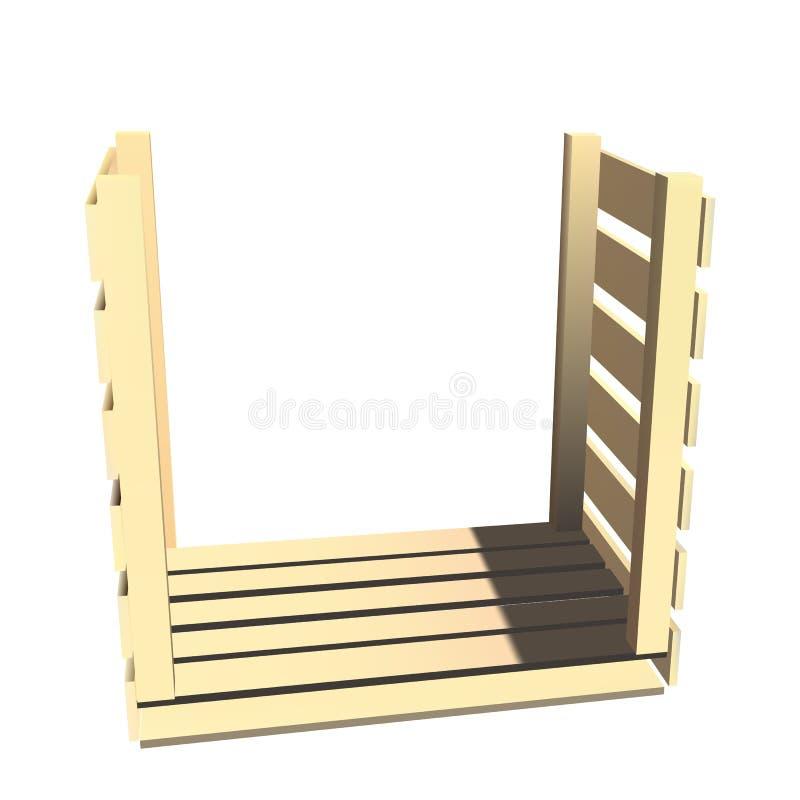Boîte en bois vide pour le stockage illustration stock