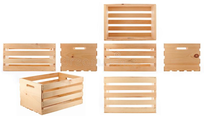 Boîte en bois vide propre photographie stock libre de droits