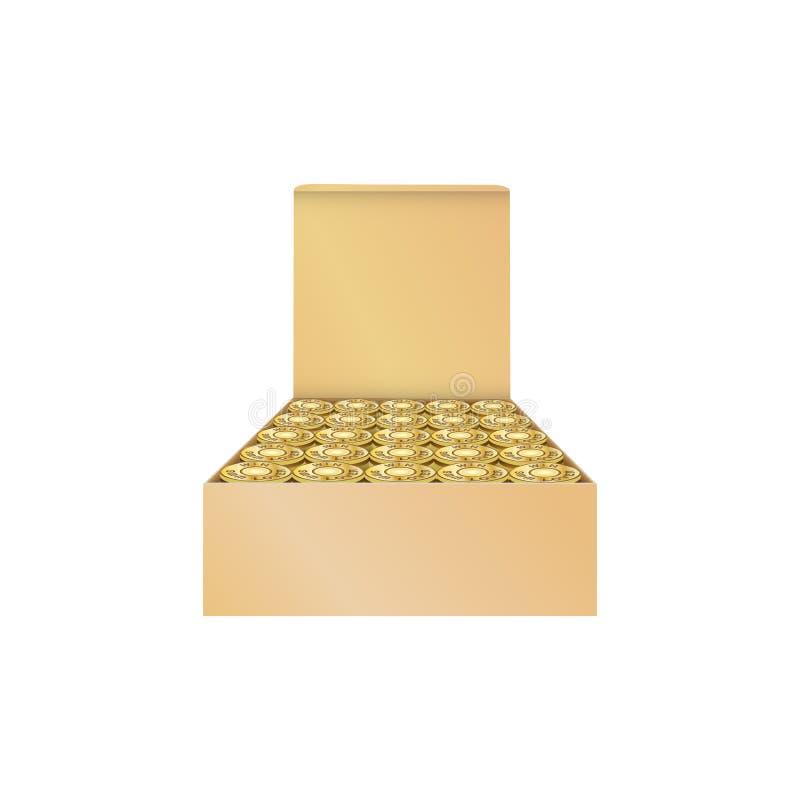 Boîte en carton avec des balles 9mm, munitions d'isolement à l'arrière-plan blanc illustration stock