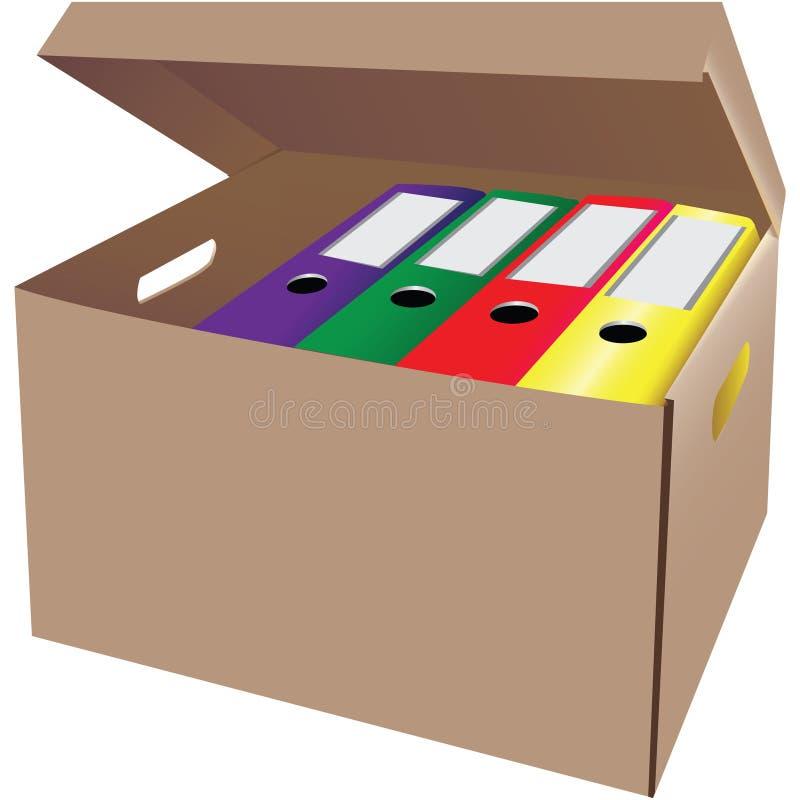 Boîte en carton avec des dépliants de bureau illustration stock