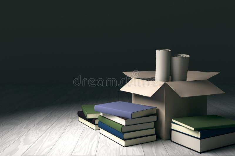 Boîte en carton avec des livres et des papiers de petit pain illustration libre de droits