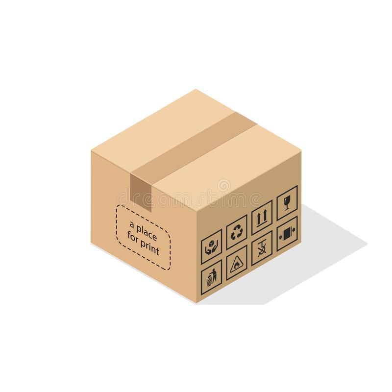 Boîte en carton avec l'ombre plate illustration stock