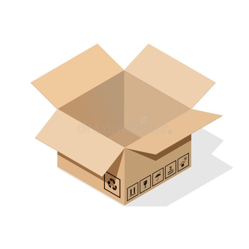 Boîte en carton avec l'ombre plate illustration de vecteur