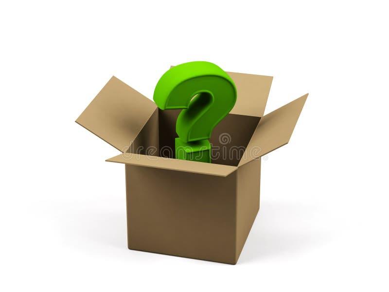 Boîte en carton avec le signe de question. illustration stock
