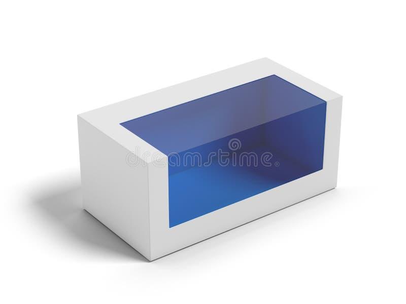 Boîte en carton avec un hublot en plastique transparent. illustration libre de droits