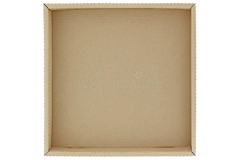 Boîte en carton brune vide d'isolement sur le blanc photo stock