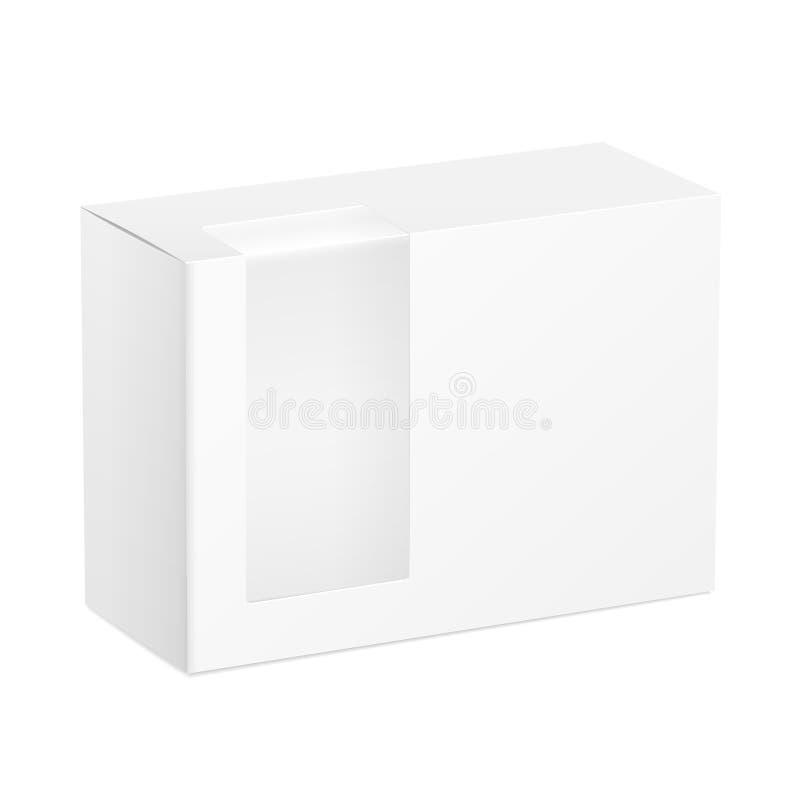 Boîte en carton de paquet avec la fenêtre en plastique transparente illustration de vecteur