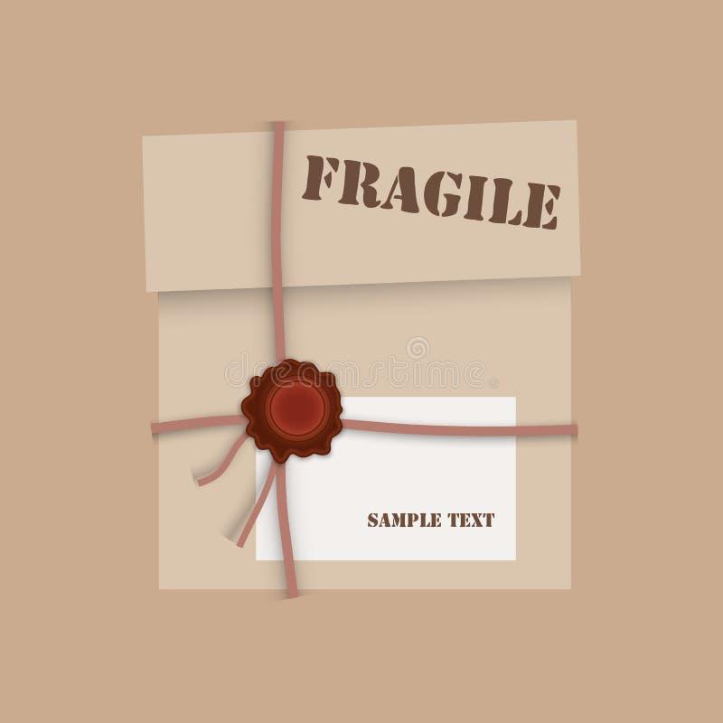 Boîte en carton de paquet de cadeau avec le joint de cire illustration de vecteur