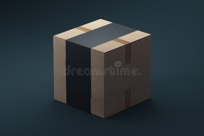 Boîte en carton emballée d'isolement sur le fond foncé, rendu 3d illustration libre de droits