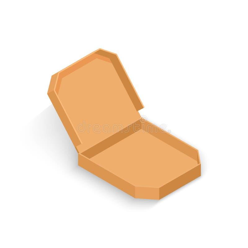Boîte en carton isométrique réaliste de la pizza 3d Vue ouverte illustration libre de droits