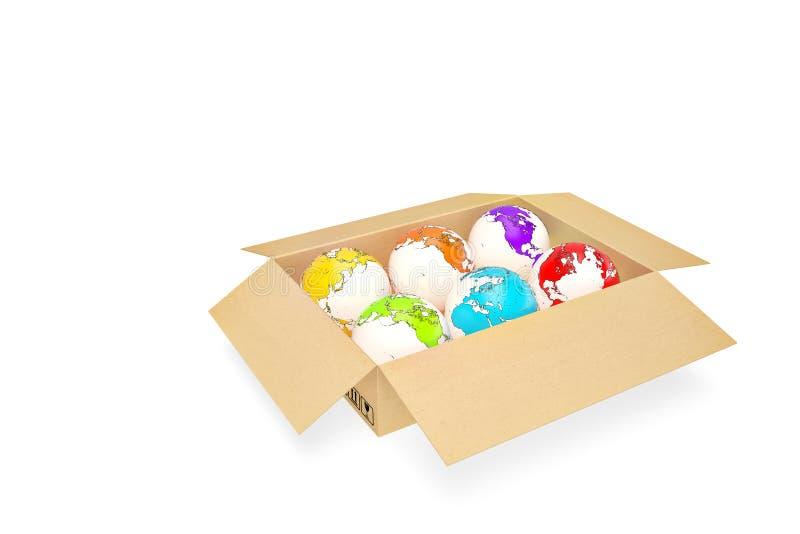 Boîte en carton ouverte de concept d'affaires globales avec la terre illustr 3d illustration de vecteur