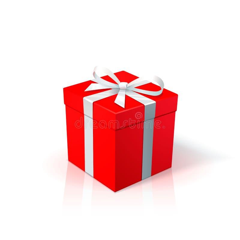 Boîte en carton rouge avec le ruban et l'arc blancs Boîte-cadeau avec sur le fond blanc Année de Noël de joyeux anniversaire nouv illustration libre de droits