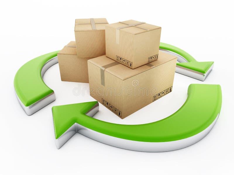 Boîte en carton se tenant parmi les flèches de réutilisation illustration 3D illustration stock