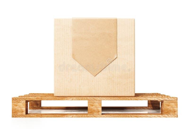 Boîte en carton sur la palette en bois sur le fond blanc, rendu 3d illustration libre de droits
