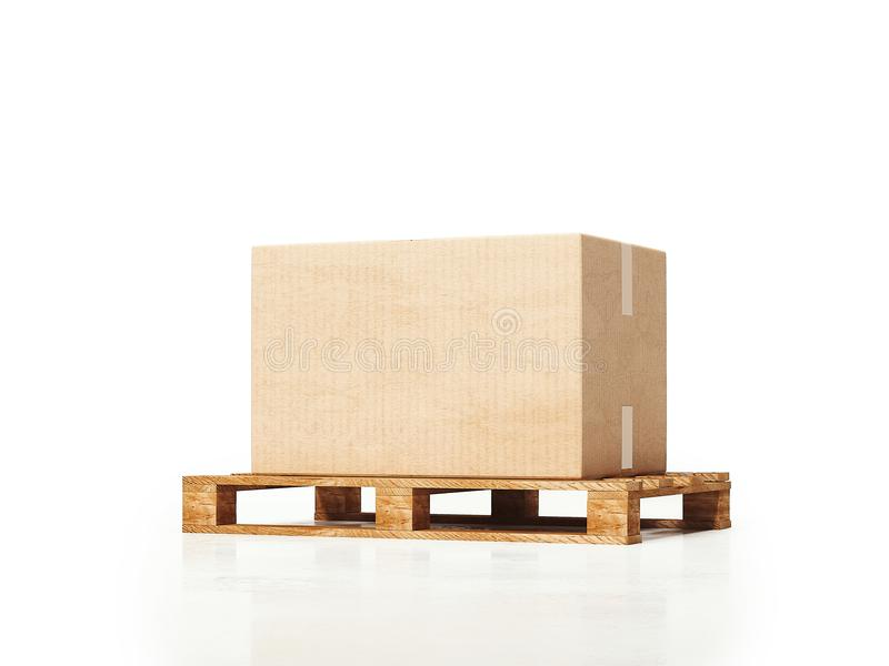 Boîte en carton sur le fond blanc, rendu 3d illustration de vecteur