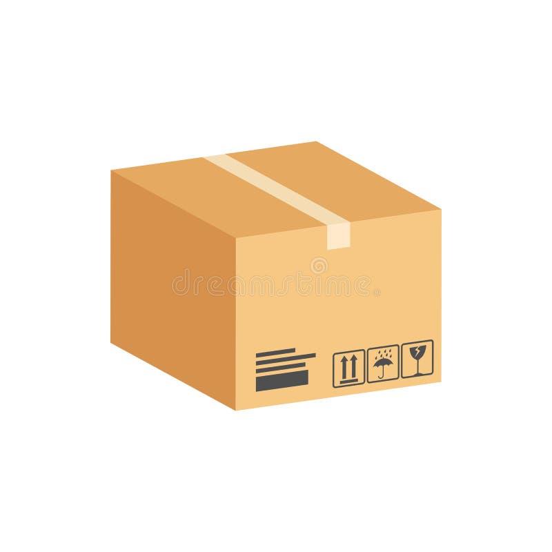 Boîte en carton, symbole de colis Icône ou logo isométrique plate illustration stock