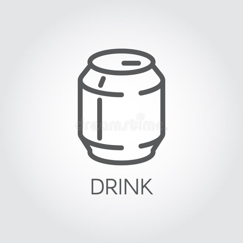 Boîte en fer blanc avec la ligne icône Concept abstrait de boisson non alcoolisée, de bière ou de limonade Label en aluminium de  illustration stock