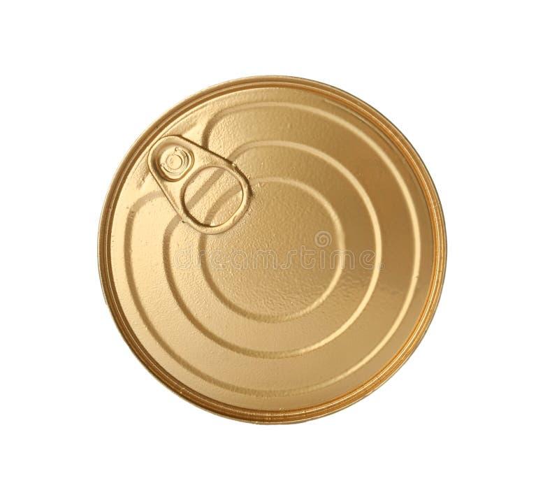 Boîte en fer blanc avec la nourriture images stock