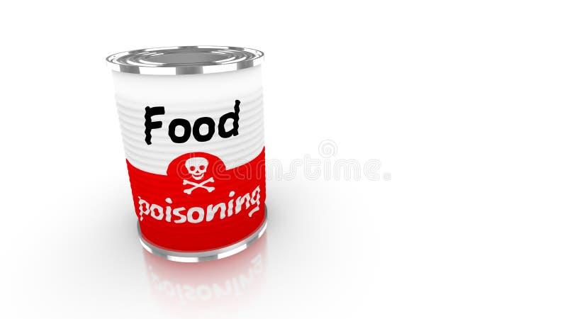 Boîte en fer blanc avec le label poisioning de nourriture rouge et blanche illustration de vecteur