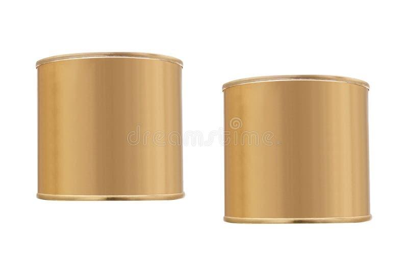 Boîte en fer blanc d'isolement sur le blanc photo stock