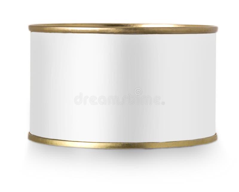 Boîte en fer blanc en métal d'or avec le label blanc d'isolement sur le fond blanc photo libre de droits