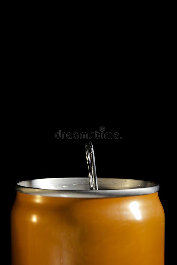 Boîte en fer blanc orange photographie stock