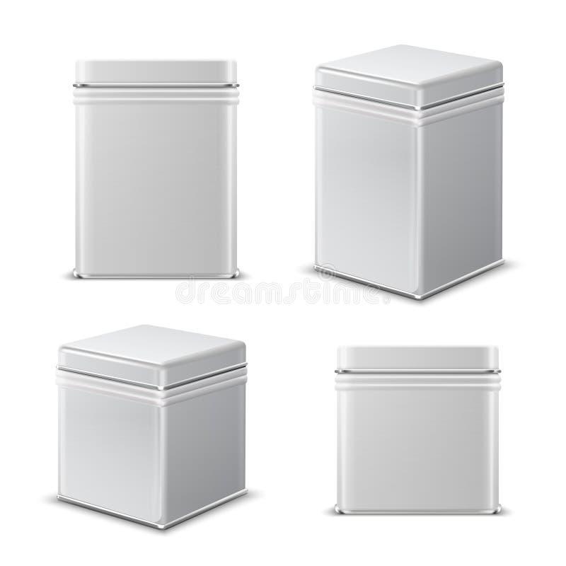 Boîte en fer blanc Récipient rectangulaire en métal blanc Maquette d'isolement par vecteur de paquet de produit alimentaire illustration libre de droits